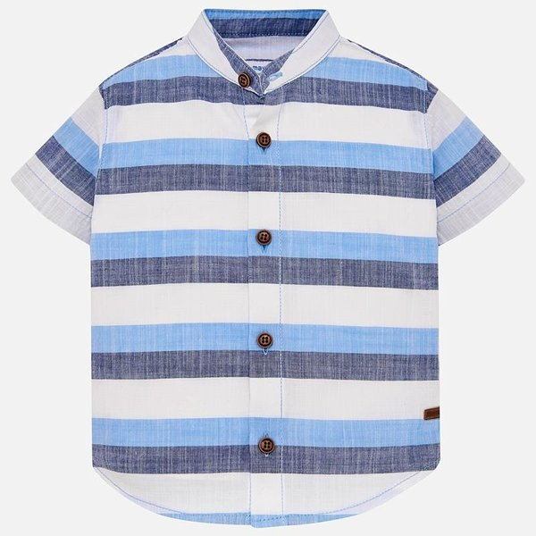 INFANT BOYS SHORT SLEEVED MAO COLLAR SHIRT