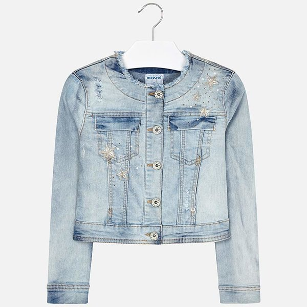 JUNIOR GIRLS DENIM APPLIQUE JACKET - BLEACHED