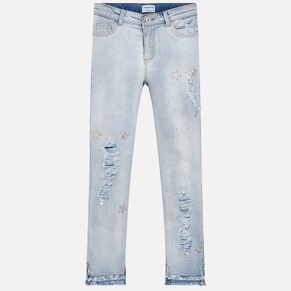 JUNIOR GIRLS APPLIQUE JEANS - BLEACHED