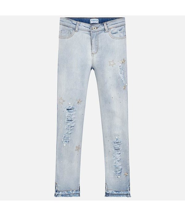 MAYORAL JUNIOR GIRLS APPLIQUE JEANS - BLEACHED