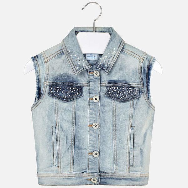 JUNIOR GIRLS SLEEVELESS DENIM JACKET