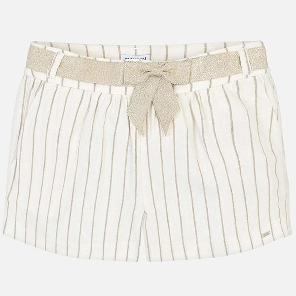 JUNIOR GIRLS KNOTTED STRIPED SHORTS