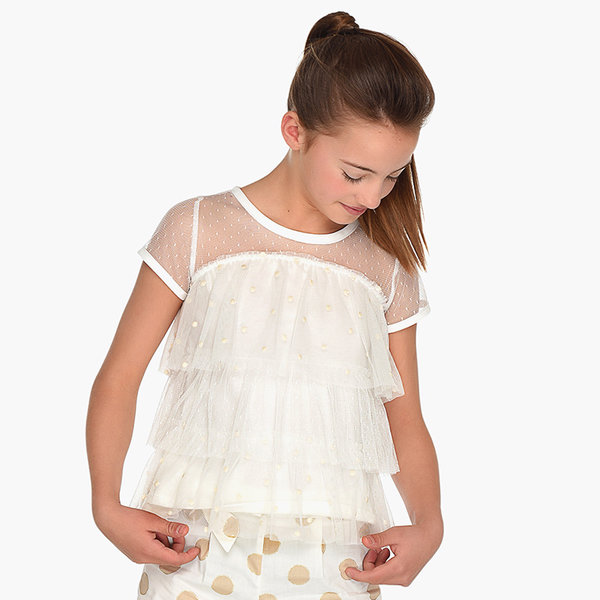 JUNIOR GIRLS SHORT SLEEVED RUFFLE BLOUSE