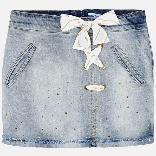 JUNIOR GIRLS KNOT DENIM SKIRT