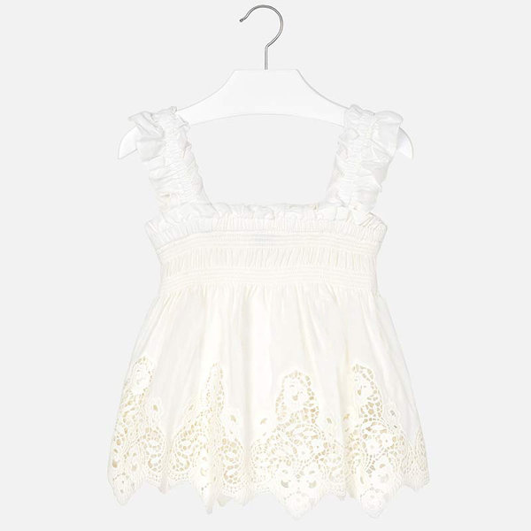 JUNIOR GIRLS STRAPPY BLOUSE WITH EMBROIDERY