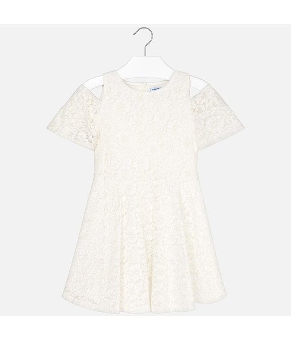 MAYORAL JUNIOR GIRLS OFF-THE-SHOULDER LACE DRESS