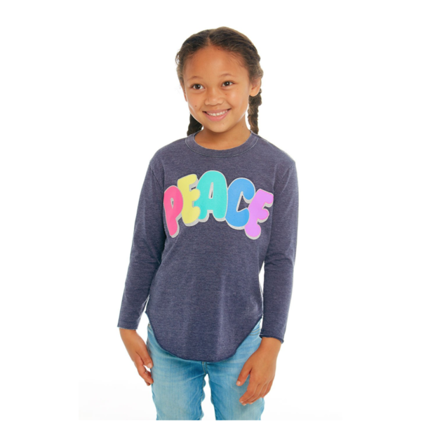 PRESCHOOL GIRLS PEACE L/S TEE - SIZE 4 ONLY