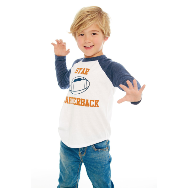 PRESCHOOL BOYS STAR QUARTERBACK L/S RAGLAN TEE