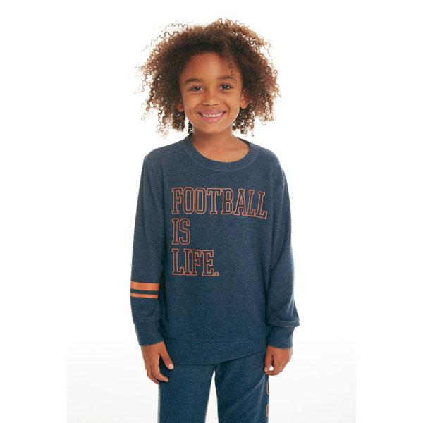 PRESCHOOL BOYS FOOTBALL IS LIFE L/S KNIT PULLOVER - SIZE 4 ONLY