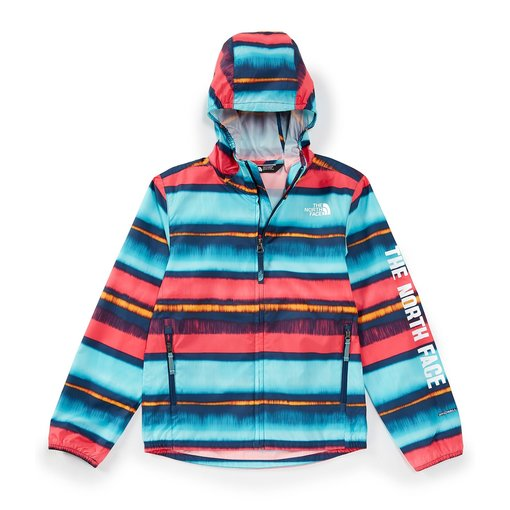 THE NORTH FACE JUNIOR GIRLS FLURRY WIND HOODIE - COASTAL STRIPE - SIZE LARGE (14/16) ONLY