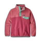 PATAGONIA JUNIOR GIRLS SYNCHILLA SNAP-T PULLOVER - REEF PINK