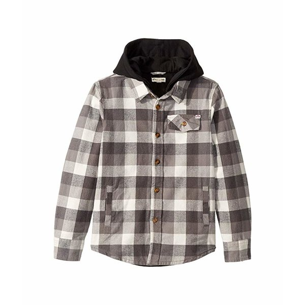 GLEN HOODED SHIRT - GREY CHECK - SIZE 5 ONLY