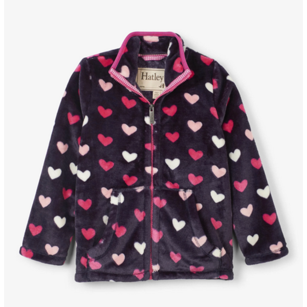 LOVELY HEARTS FUZZY FLEECE ZIP UP JACKET - SIZE 3 ONLY