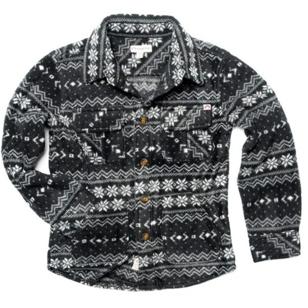 BOYS SNOW FLEECE SHIRT - BLACK FAIR ISLE