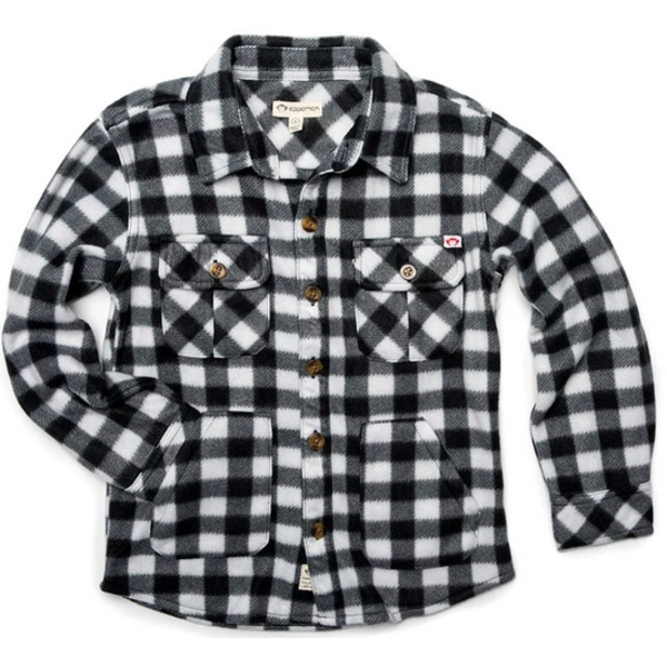 BOYS SNOW FLEECE SHIRT - BLACK/WHITE CHECK