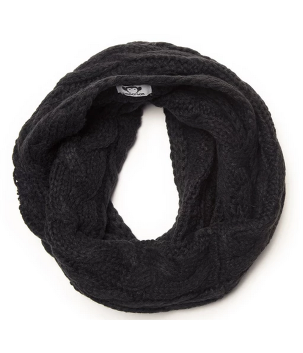 APPAMAN CABLE KNIT INFINITY SCARF - BLACK