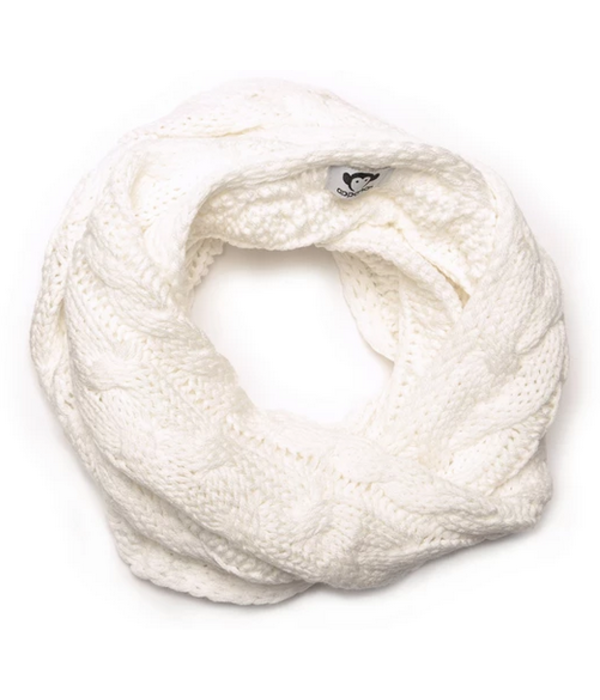 CABLE KNIT INFINITY SCARF - WHITE