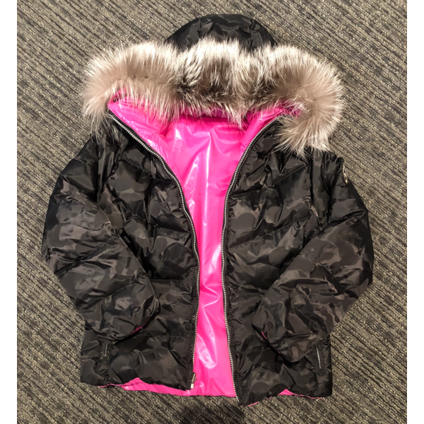 FURRY JAVA JACKET WITH FUR - BLACK CAMO/PINK - SIZE 10 ONLY
