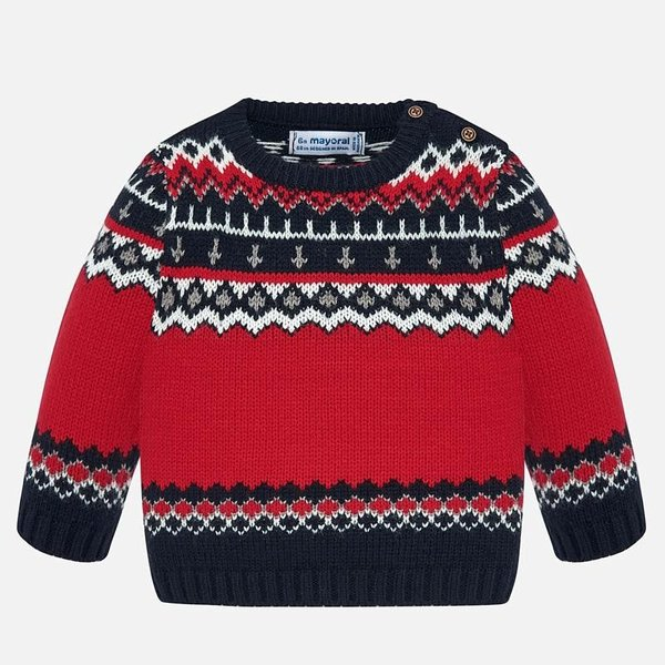 INFANT BOYS JACQUARD SWEATER - RED