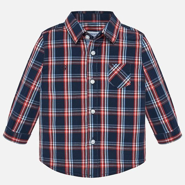 INFANT BOYS LONGSLEEVE CHECK SHIRT - DARK BLUE
