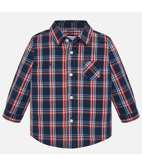MAYORAL INFANT BOYS LONGSLEEVE CHECK SHIRT - DARK BLUE
