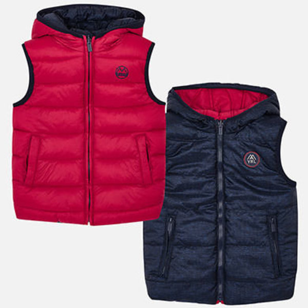 PRESCHOOL BOYS REVERSIBLE PADDED VEST - RED