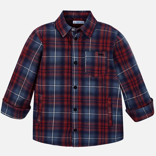 PRESCHOOL BOYS LONGSLEEVE CHECKED SHIRT - RED