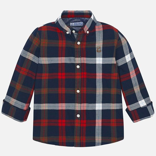 PRESCHOOL BOYS LONGSLEEVE PLAID SHIRT - RED