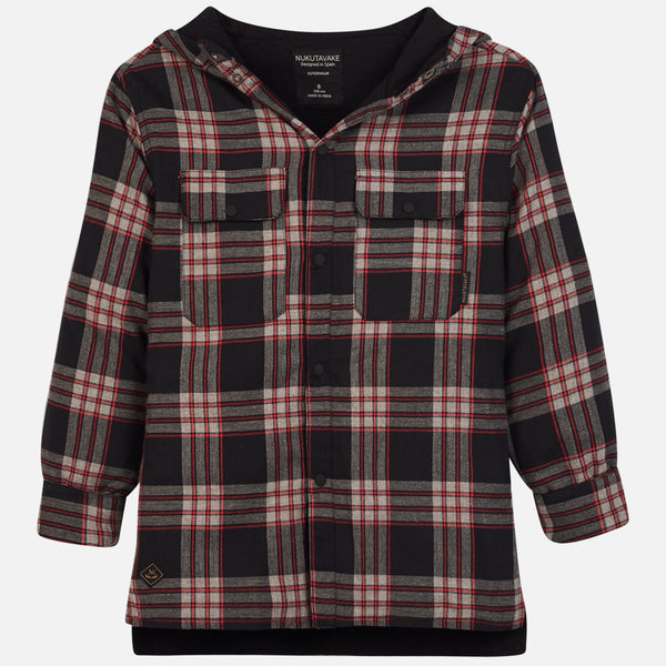 JUNIOR BOYS CHECKED OVERSHIRT - BLACK