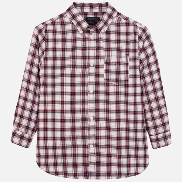 JUNIOR BOYS LONGSLEEVE CHECKED SHIRT - MAROON