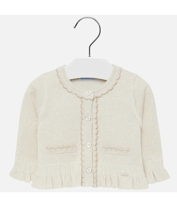 MAYORAL INFANT GIRLS KNIT CARDIGAN - SAND - SIZE 6 MONTHS ONLY