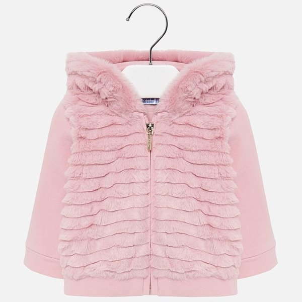 INFANT GIRLS FAUX FUR ZIP UP - ROSE