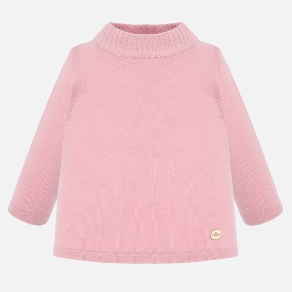 INFANT GIRLS BASIC MOCKNECK SWEATER - ROSE