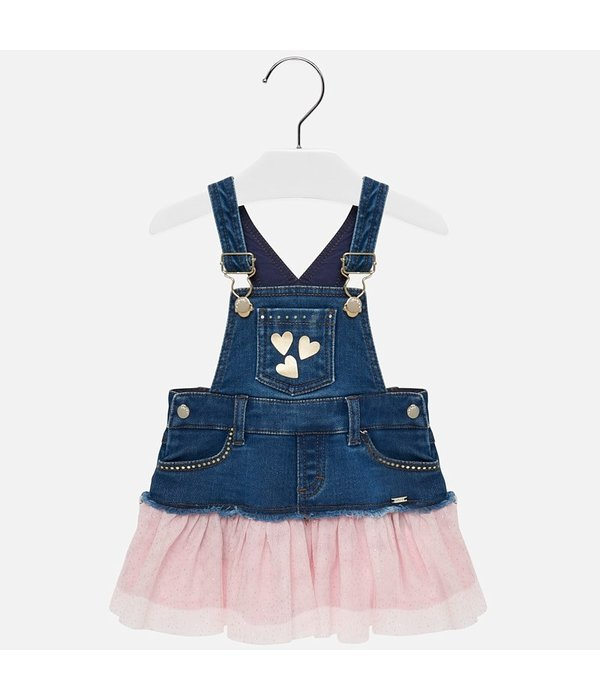 MAYORAL INFANT GIRLS TULLE OVERALL SKIRT - ROSE - SIZE 6 MONTHS ONLY