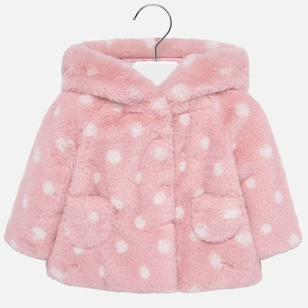 INFANT GIRLS FAUX FUR COAT - ROSE