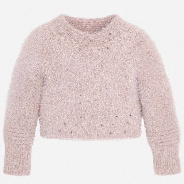 PRESCHOOL GIRLS FAUX FUR SWEATER - NUDE - SIZE 2 ONLY