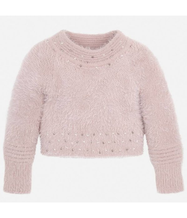 MAYORAL PRESCHOOL GIRLS FAUX FUR SWEATER - NUDE - SIZE 2 ONLY