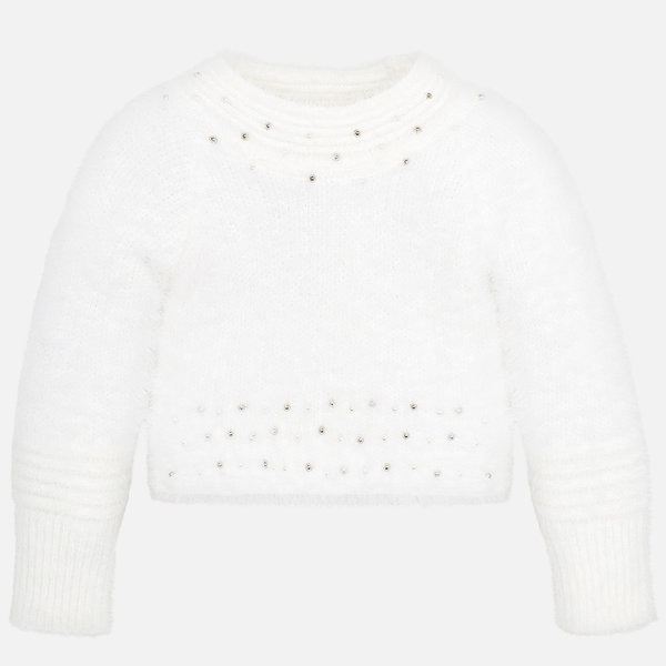 PRESCHOOL GIRLS FAUX FUR SWEATER - NATURAL