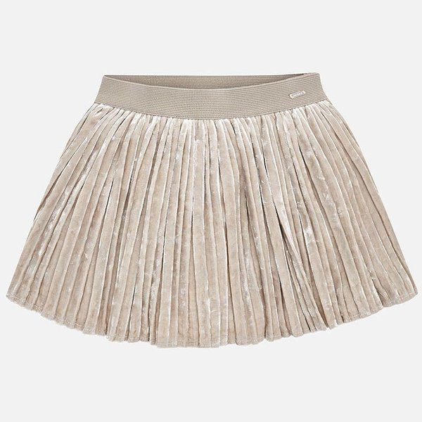 PRESCHOOL GIRLS PLEATED VELVET SKIRT - SOIL