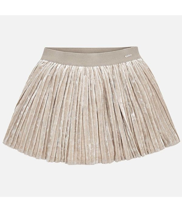 MAYORAL PRESCHOOL GIRLS PLEATED VELVET SKIRT - SOIL