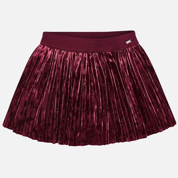 PRESCHOOL GIRLS PLEATED VELVET SKIRT - RUBY