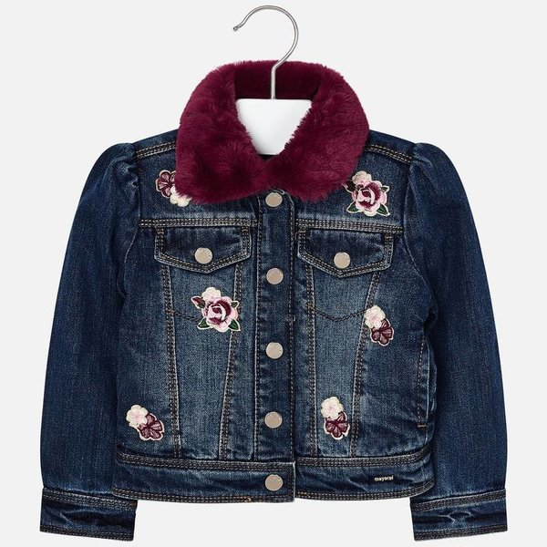 PRESCHOOL GIRLS FAUX FUR DENIM JACKET - BASIC