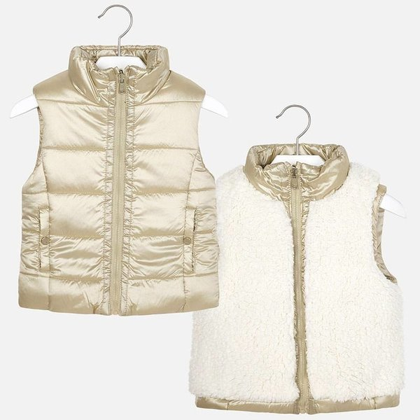 PRESCHOOL GIRLS REVERSIBLE FAUX FUR VEST - GOLDEN