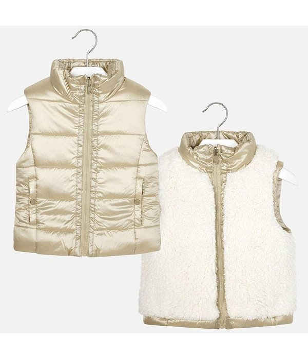 MAYORAL PRESCHOOL GIRLS REVERSIBLE FAUX FUR VEST - GOLDEN