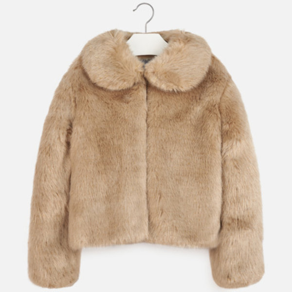 JUNIOR GIRLS FAUX FUR COAT - BEIGE