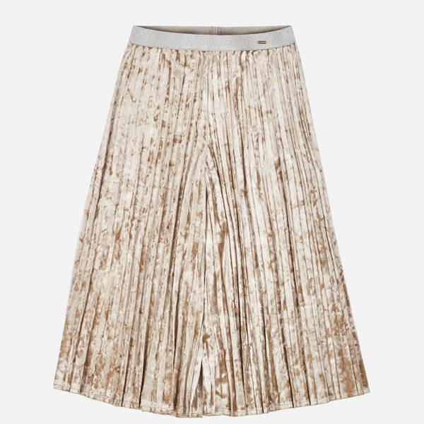JUNIOR GIRLS VELVET SKIRT - BEIGE