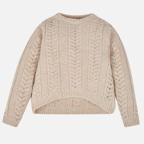 JUNIOR GIRLS LUREX KNIT SWEATER - GOLDEN