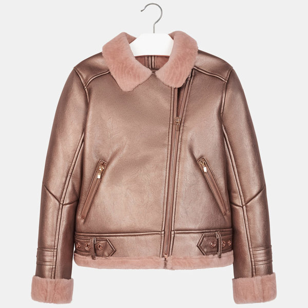 JUNIOR GIRLS DOUBLE-SIDED COAT - COPPER