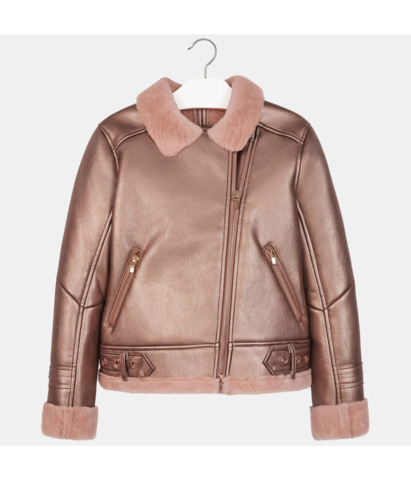 MAYORAL JUNIOR GIRLS DOUBLE-SIDED COAT - COPPER