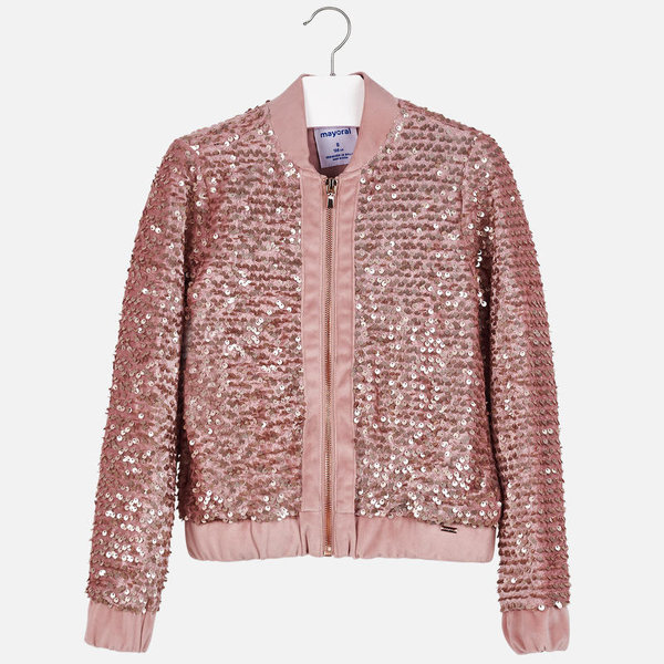 JUNIOR GIRLS SEQUIN JACKET - CRYSTAL - SIZE 16 ONLY